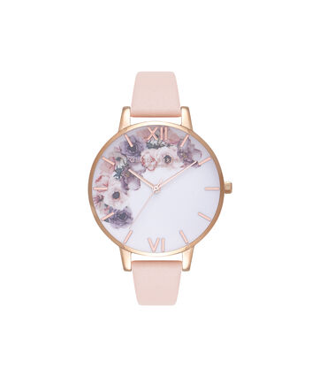 OLIVIA BURTON LONDON Watercolour FloralsOB16PP30 – Big Dial Round in Floral and Nude Peach - Front view