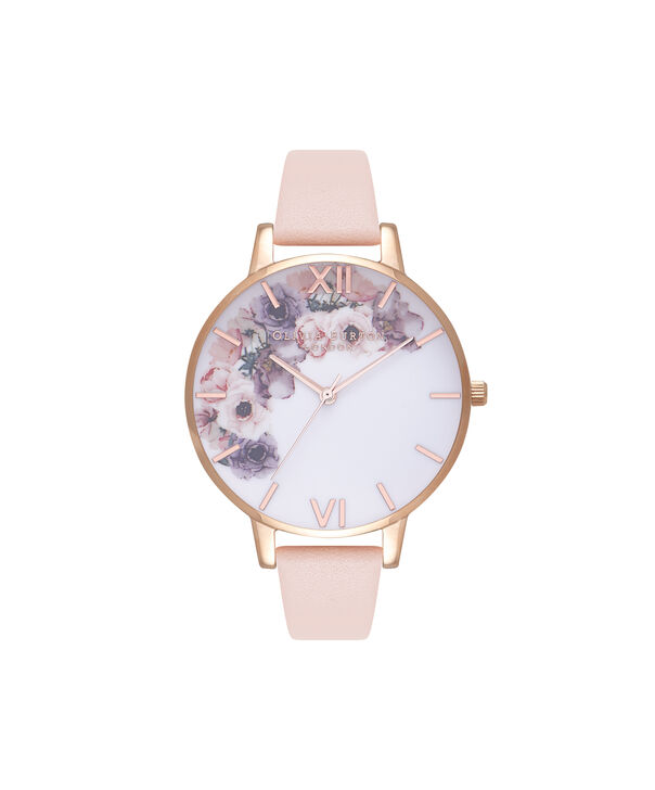 OLIVIA BURTON LONDON  Watercolour Florals Nude Peach & Rose Gold Watch OB16PP30 – Big Dial Round in Floral and Nude Peach - Front view