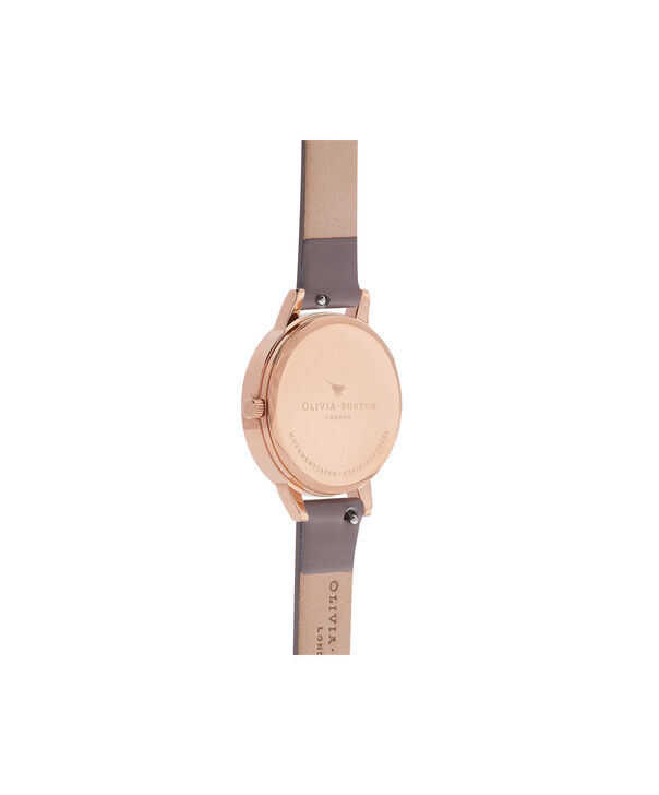 OLIVIA BURTON LONDON  Pretty Blossom Rose Gold & London Grey Watch OB16PL36 – Midi Dial Round in London Grey and Rose Gold - Back view