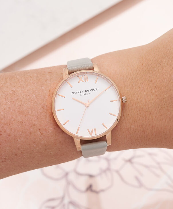 OLIVIA BURTON LONDON  Big Dial Grey & Rose Gold Watch OB15BDW02 – Big Dial Round in White and Grey - Other view