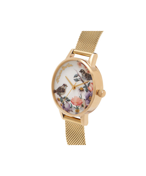 OLIVIA BURTON LONDON  English Garden Gold Mesh Watch OB16ER12 – Midi Dial Round in White and Gold - Side view