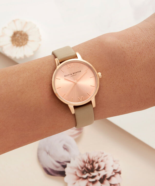 OLIVIA BURTON LONDON  Sunray Dial Midi Dial Sand & Rose Gold OB16MD88 – Midi Dial Round in Rose Gold - Other view