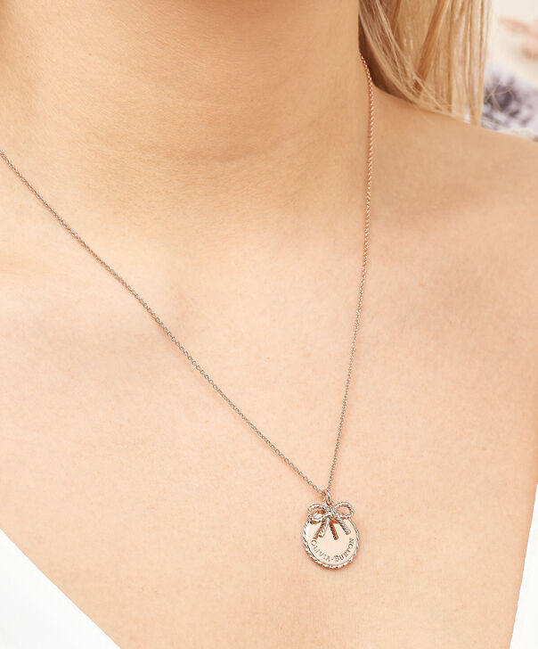 OLIVIA BURTON LONDON  Vintage Bow Coin Necklace Rose Gold OBJ16VBN02 – Vintage Bow Disc Necklace - Other view