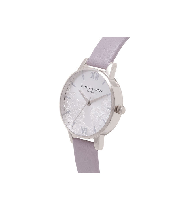OLIVIA BURTON LONDON  Lace Detail Grey Lilac & Silver Watch OB16MV76 – Midi Dial Round in Grey Lilac and Silver - Side view