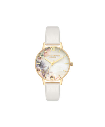 OLIVIA BURTON LONDON Watercolour FloralsOB16PP45 – Midi Dial Round in Gold - Front view