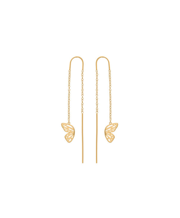 OLIVIA BURTON LONDON Butterfly Wing Threader Earring Gold OBJ16EBE01 – Butterfly Wing Threader Earrings - Front view