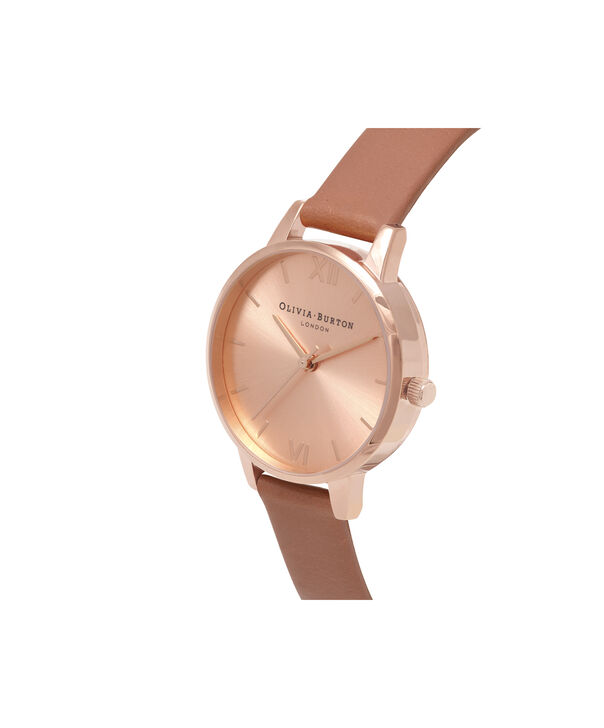 OLIVIA BURTON LONDON  Sunray Dial Midi Dial Sand & Rose Gold OB16MD88 – Midi Dial Round in Rose Gold - Side view