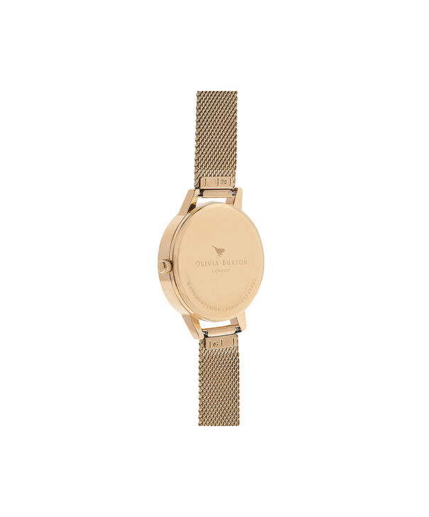 OLIVIA BURTON LONDON  White Dial Gold Mesh Watch OB16MDW35 – Midi Dial in White and Gold - Back view