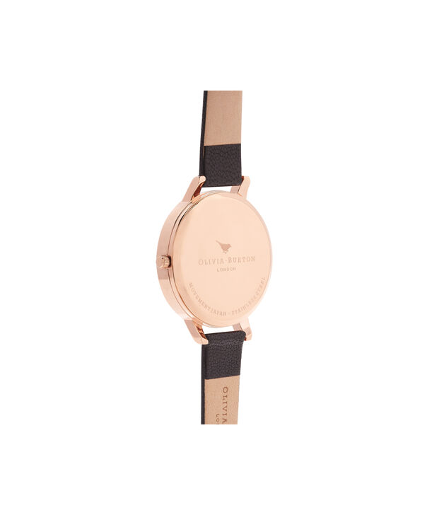 OLIVIA BURTON LONDON  White Dial Black And Rose Gold Watch OB16BDW09 – Big Dial Round in White and Black - Back view