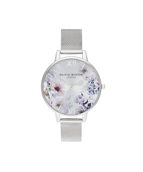 OLIVIA BURTON LONDON Sunlight Florals Big Dial Silver MeshOB16EG117 – Sunlight Florals Big Dial Silver Mesh - Front view
