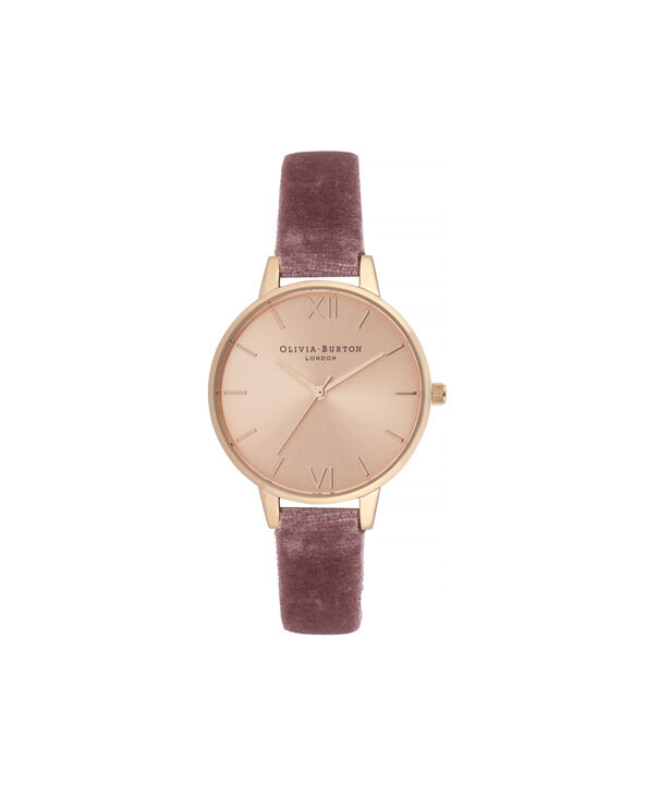 OLIVIA BURTON LONDON Sunray Demi Dial Watch with Rose VelvetOB16DE03 – Demi Dial in pink and Rose Gold - Front view