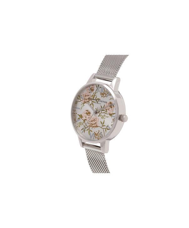 OLIVIA BURTON LONDON Midi Parlour Peony Floral Silver MeshOB16PL33 – Midi Dial Round Silver Mesh - Side view