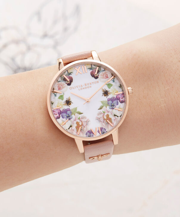 OLIVIA BURTON LONDON  Enchanted Garden Dusty Pink & Rose Gold OB16EG111 – Big Dial Round in Rose Gold and Pink - Other view