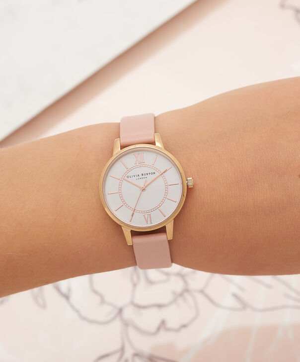 OLIVIA BURTON LONDON  Wonderland Dusty Pink And Rose Gold Watch OB15WD28 – Midi Dial Round in Silver and Pink - Other view