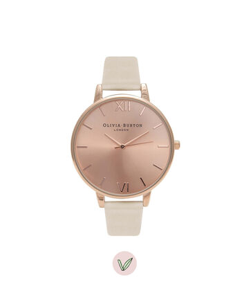 OLIVIA BURTON LONDON  Vegan Friendly Nude & Rose Gold Watch OB16BDV01 – Big Dial Round in Rose Gold and Nude - Front view