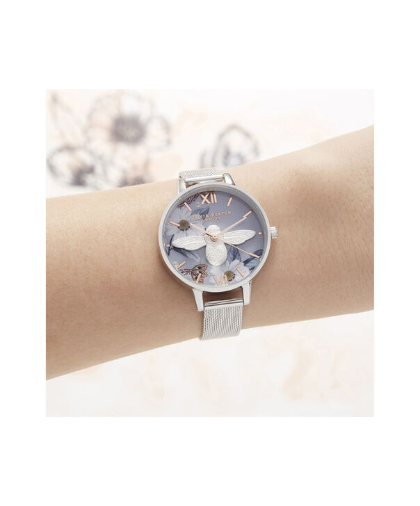 OLIVIA BURTON LONDON Bejewelled Florals 3D Bee Demi Dial WatchOB16BF18 – Demi Dial in blue and Silver - Other view