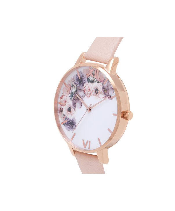 OLIVIA BURTON LONDON  Watercolour Florals Nude Peach & Rose Gold Watch OB16PP30 – Big Dial Round in Floral and Nude Peach - Side view