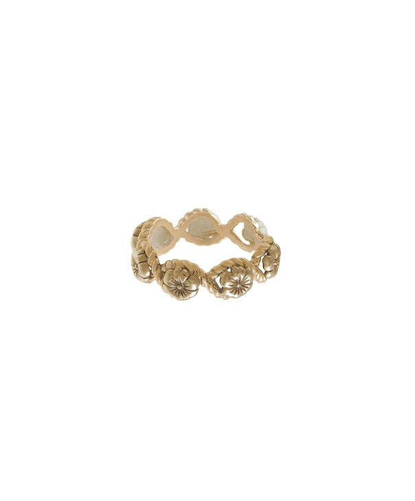 OLIVIA BURTON LONDON  Floral Charm Rope Ring Gold OBJ16FSR04 – Floral Charm Ring - Front view