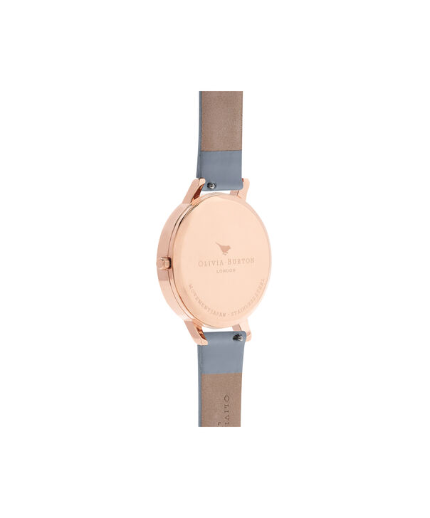 OLIVIA BURTON LONDON  Marble Floral Chalk Blue & Rose Gold OB16MF10 – Big Dial Round in Rose Gold and Blue - Back view