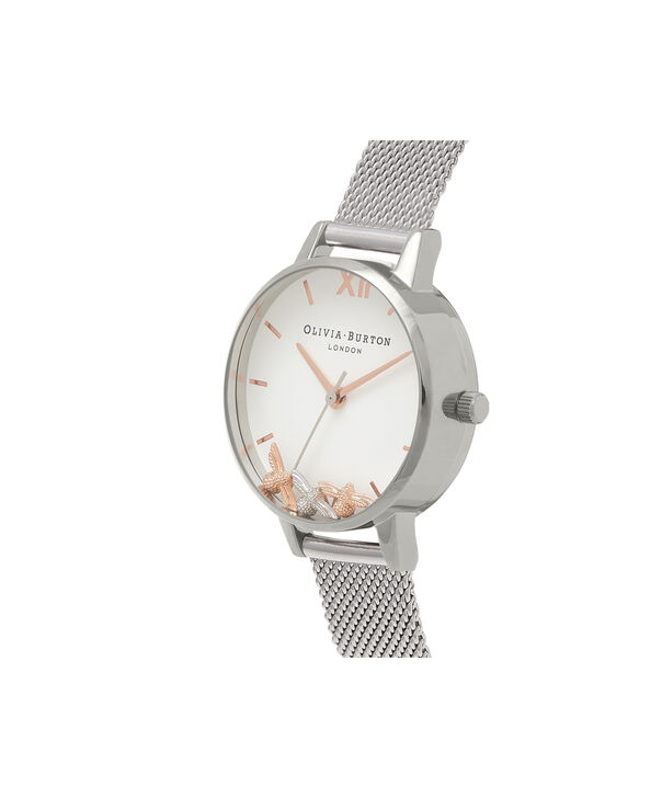 OLIVIA BURTON LONDON  Busy Bees Silver Mesh Watch OB16CH02 – Midi Dial Round in White and Silver - Side view