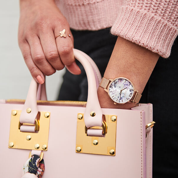 OLIVIA BURTON LONDON Bejewelled Florals Silver Glitter Dial & Rose Gold MeshOB16BF27 – Demi Dial In Rose Gold And Rose Gold - Other view