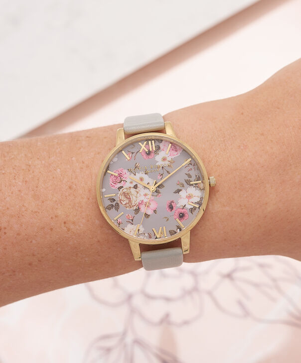 OLIVIA BURTON LONDON  Flower Show Big Dial Grey & Gold Watch OB16FS81 – Big Dial in Grey Floral and Grey - Other view