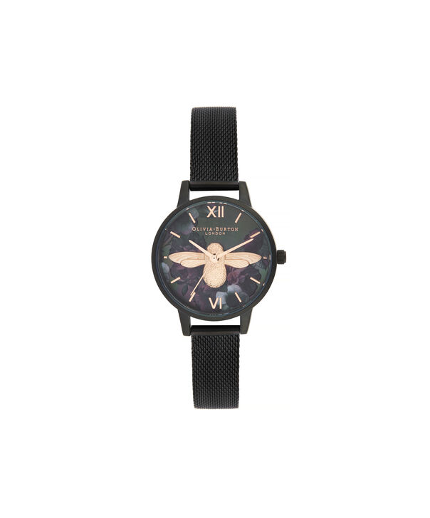 OLIVIA BURTON LONDON After Dark 3D Bee Midi Dial WatchOB16AD39 – Midi Dial in black and Black & Rose Gold - Front view