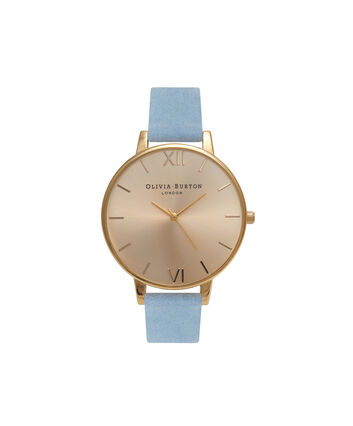 OLIVIA BURTON LONDON  Sunray Dial Chalk Blue Suede & Gold OB16BD111 – Big Dial Round in Gold and Chalk Blue - Front view