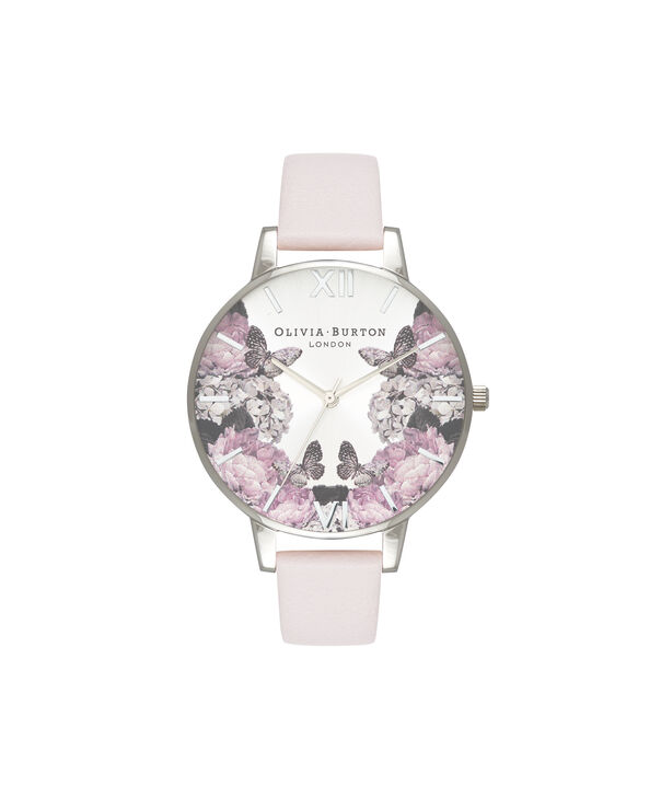 OLIVIA BURTON LONDON  Signature Florals Blush & Silver OB16WG51 – Big Dial Round in Silver - Front view