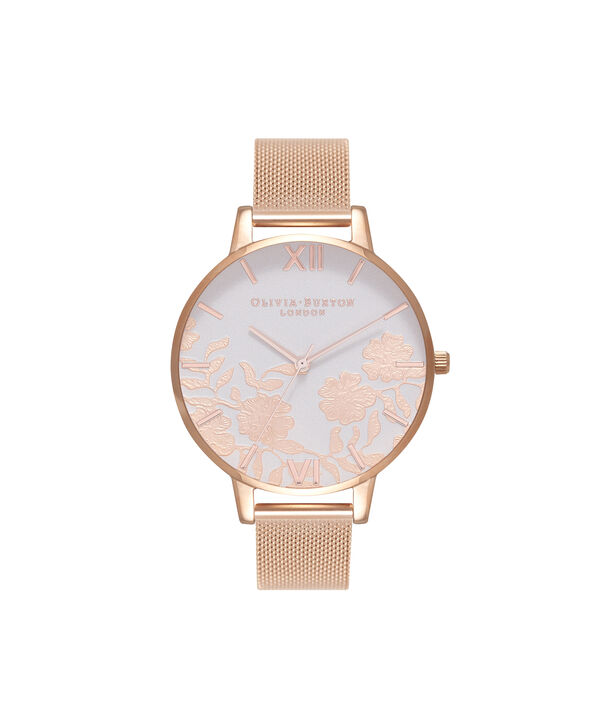 OLIVIA BURTON LONDON  Lace Detail Blush & Rose Gold Mesh Watch OB16MV79 – Big Dial Round in Blush and Rose Gold - Front view