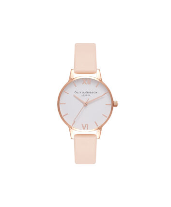 OLIVIA BURTON LONDON  Midi Dial Nude Peach & Rose Gold Watch OB16MDW16 – Midi Dial Round in White and Peach - Front view