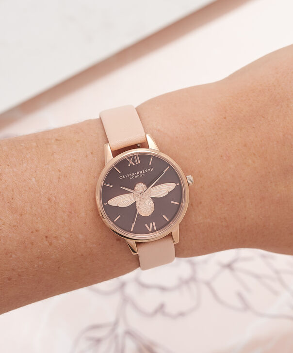 OLIVIA BURTON LONDON  3D Bee Nude Peach & Rose Gold Watch OB16AM124 – Midi Dial Chocolate and Peach - Other view