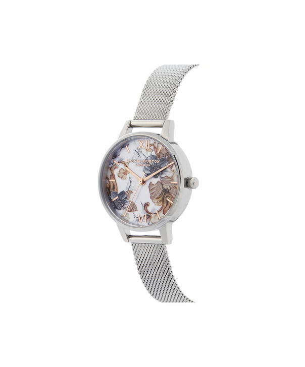 OLIVIA BURTON LONDON Marble Florals Midi Dial WatchOB16CS16 – Midi Dial in silver and Silver & Rose Gold - Side view