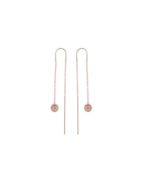 OLIVIA BURTON LONDON  Daisy Threader Earrings Rose Gold OBJ16DAE17 – 3D Daisy Threader Earrings - Front view
