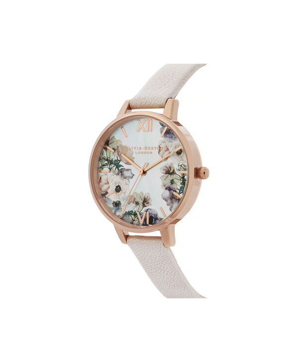 OLIVIA BURTON LONDON Watercolour Florals Demi Dial Watch with Nude Mother-Of-PearlOB16PP53 – Demi Dial in pink and Rose Gold - Side view