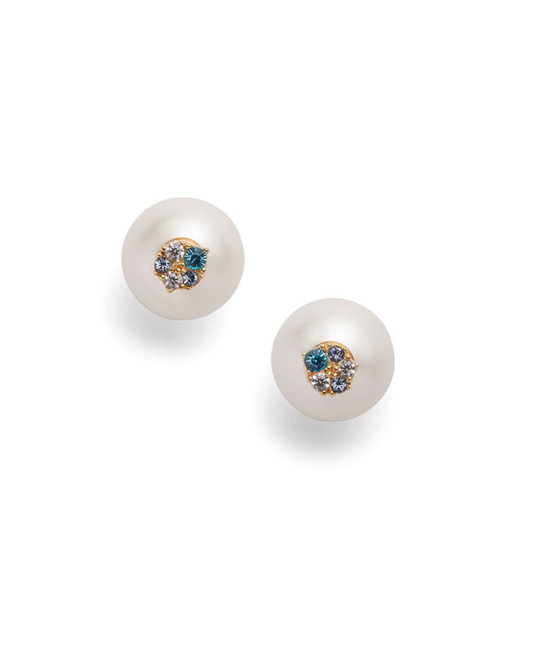 OLIVIA BURTON LONDON Under The Sea White Pearl Back Earrings GoldOBJSCE08 – SHOPBAG_LABEL - Front view