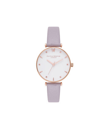 OLIVIA BURTON LONDON  Social Butterfly White Dial Grey Lilac & Rose Gold Watch OB16MB13 – Midi Dial Round in White and Rose Gold - Front view
