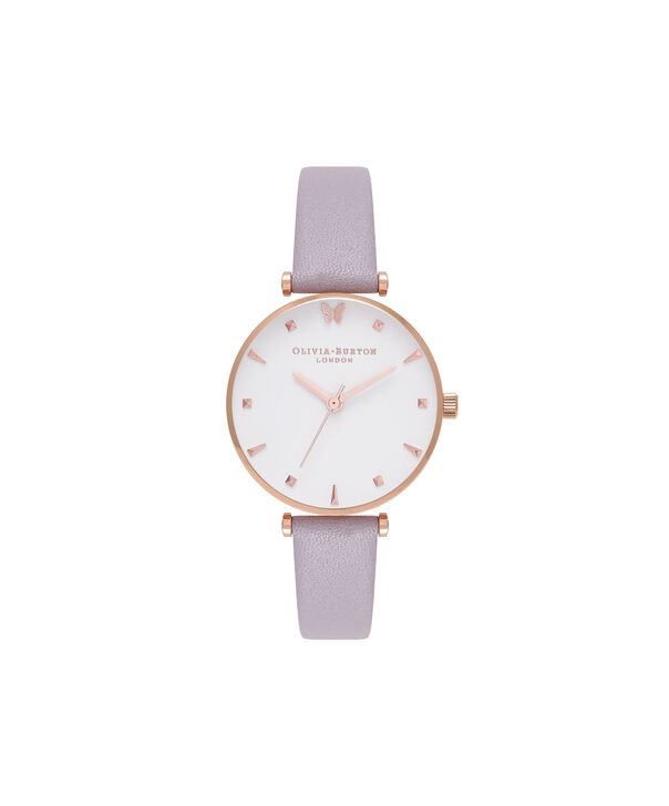 Ladies Social Butterfly White Dial Grey Lilac & Rose Gold Watch | Olivia Burton London