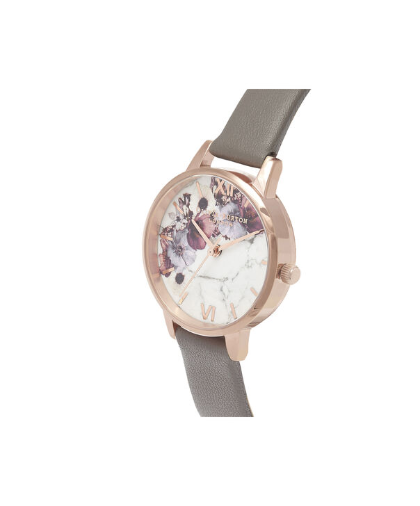 OLIVIA BURTON LONDON  Marble Floral London Grey & Rose Gold OB16MF08 – Midi Dial Round in Rose Gold and Grey - Side view