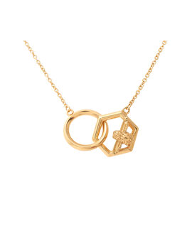 Honeycomb Bee Necklace Gold