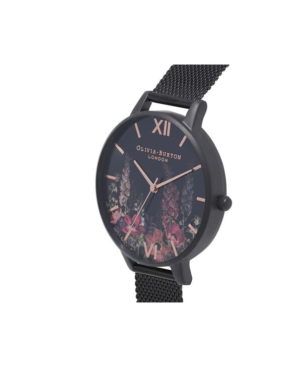 OLIVIA BURTON LONDON  After Dark Matte Black & Rose Gold Watch OB16AD29 – Big Dial Round Black - Side view