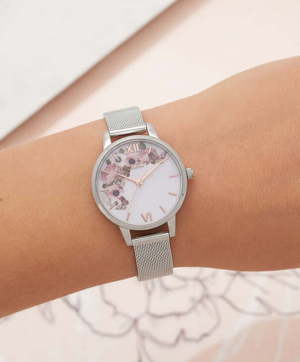 OLIVIA BURTON LONDON  Signature Floral Silver Mesh Watch OB16WG30 – Midi Dial Round in White and Silver - Other view