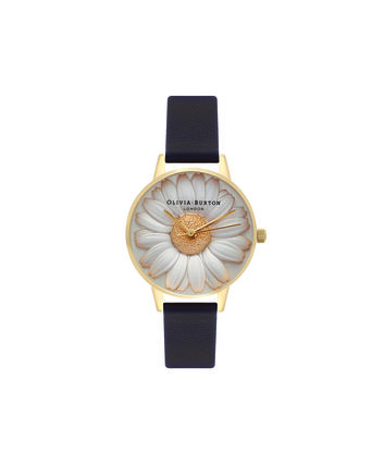 OLIVIA BURTON LONDON  3D Daisy Black & Gold Watch OB15EG38 – Midi Dial Round in White and Black - Front view