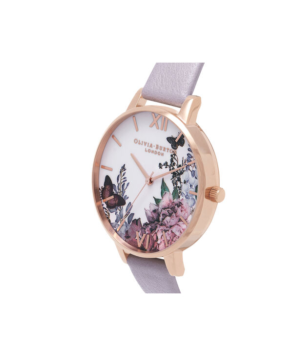 OLIVIA BURTON LONDON  Winter Garden Grey Lilac & Rose Gold Watch OB16WG34 – Big Dial in White and Grey Lilac - Side view