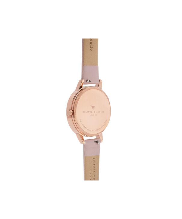 OLIVIA BURTON LONDON Semi Precious Rose Quartz Vegan Rose Sand & Rose GoldOB16MV84 – Midi Dial Round in Rose Gold and Pink - Back view