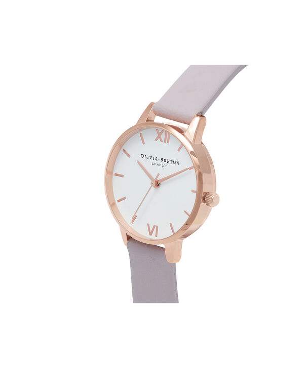 OLIVIA BURTON LONDON  Midi Dial Grey Lilac & Rose Gold Watch OB16MDW32 – Midi Dial Round in White and Grey Lilac - Side view