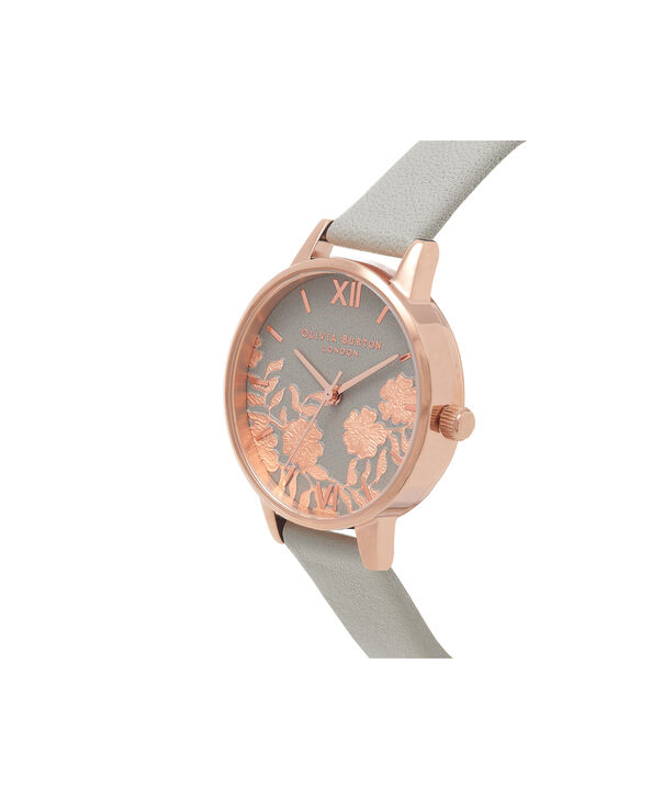 OLIVIA BURTON LONDON Lace Detail Grey & Rose Gold Watch OB16MV58 – Midi Dial Round in Grey - Side view
