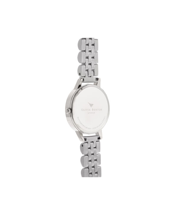 OLIVIA BURTON LONDON  Mother of Pearl White Bracelet, Silver OB16MOP02 – Midi Dial Round in Silver and Silver - Back view