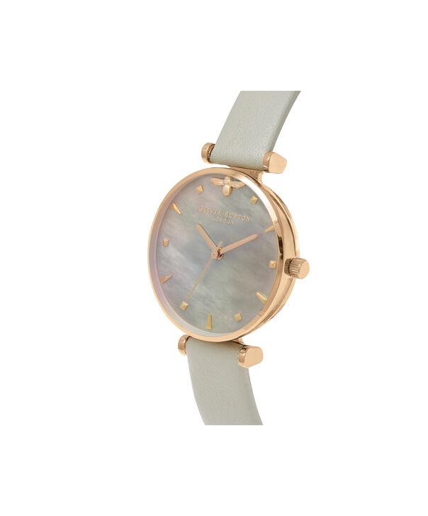 OLIVIA BURTON LONDON  Queen Bee Grey Mother of Pearl Grey & Gold OB16AM154 – Midi Dial Round in Gold and Grey - Side view