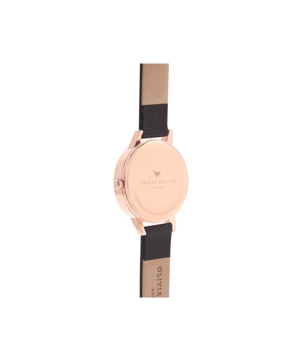 OLIVIA BURTON LONDON  White Dial Midi Black & Rose Gold Watch OB16MDW07 – Midi Dial Round in White and Black - Back view